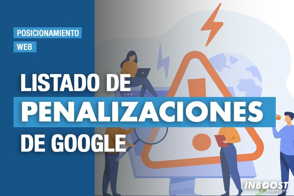 Listado de penalizaciones de Google